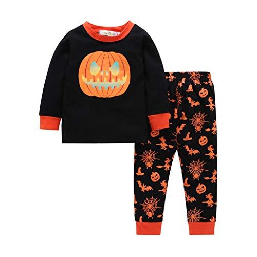 Halloween Kids Toddler Boys Girls Pumpkin Print Top + Long Pants Pajamas Set Suit Black