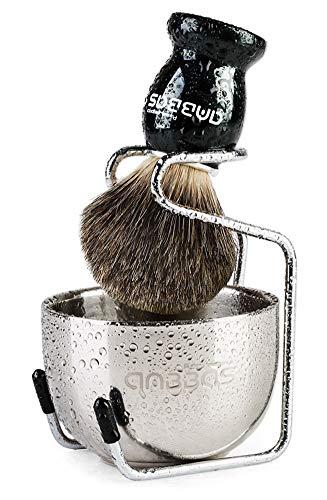 Anbbas Shaving Brush, 3in1 Best Pure Badger Shaving Brush Black Wood Handle,Stainless Steel Shaving Stand Brush Holder and Dia 3.2 inches Shaving Soap Bowl for Men Perfect Wet Shaving Set
