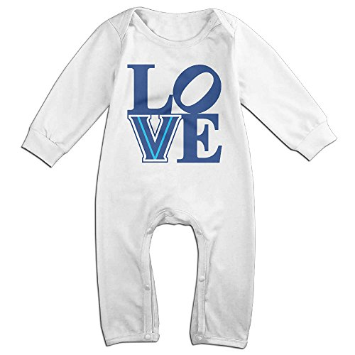 Price comparison product image PCY Newborn Babys Boy's & Girl's LOVE Villanova University V Logo Long Sleeve Baby Climbing Clothes For 6-24 Months White Size 18 Months