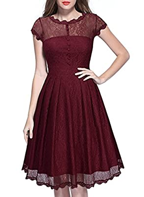 Miusol Women's Retro Floral Lace Cap Sleeve Vintage Swing Bridesmaid Dress