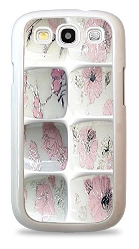 Trendy Accessories Nail Font Art - Pink Flowers - Sticker 3D Design Print White Silicone Case for Samsung Galaxy S3