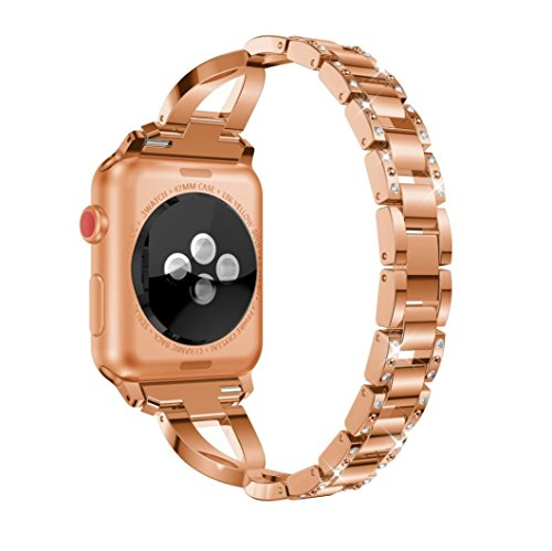 Price comparison product image Boofab Crystal Strap Wrist Band for Apple Watch Series 1 & 2 & 3 38mm All Edition - Women Stainless Steel Crystal Diamond Replacement Bracelet Accessories Bands (ROSE GOLD)