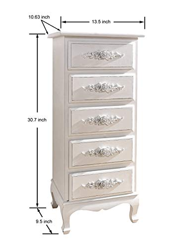 Chest of Drawers White Dressers for Bedroom Girls  Antique Shabby Chic Wood Storage