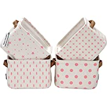 Sea Team Collapsible Small Canvas Fabric Storage Basket with Handles, Square Mini Storage Box, Cube, Foldable Shelf Basket, Closet, Desk Organizer for Nursery, Home, Office (Pink, Set of 4)