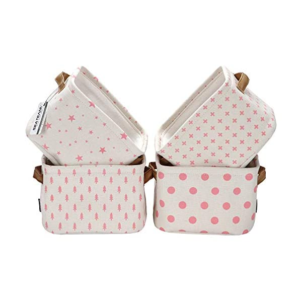 Sea Team Foldable Mini Square New Pink and White Theme 100% Natural Linen & Cotton Fabric Storage Bins Storage Baskets Organizers for Shelves & Desks – Set of 4