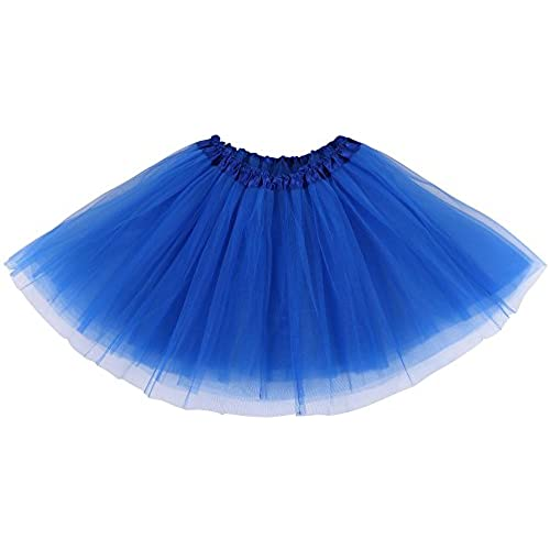 Simplicity Womens Classic Elastic 3 Layered Tulle Tutu Skirt Royal Blue