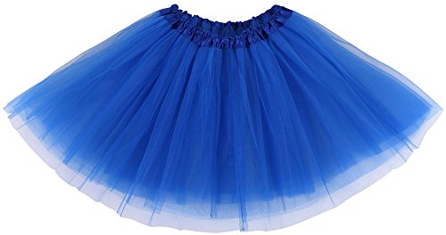Simplicity Women's Classic Elastic, 3-Layered Tulle Tutu Skirt, Royal -