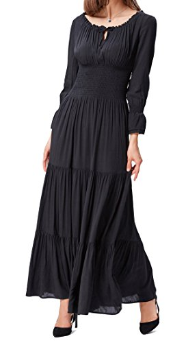 Long Black Women Renaissance Poque Sleeve Belle Dress Pleated Maxi EwqWZU8x8n