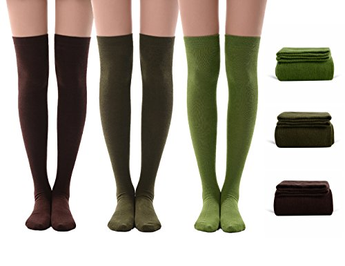 High Knee Socks Women, MEIKAN Women Tube Dresses Thigh High Stockings Cosplay for Girls 3 Pairs (Brown,Olive Green,Army Green) -