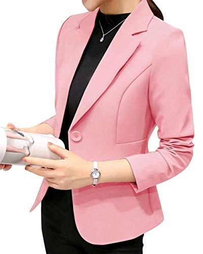 Formale Giubotto Giacca Manica Slim Puro Button Lunga Autunno Bavero Pink Mode Leisure Tailleur Donna Di Suit Fit Outwear Marca Confortevole Da Colore ZqIntnU0