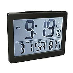 """Atomic Desk/bedroom Alarm Clock Black-1.5"""" Time Number, Back White Light"""