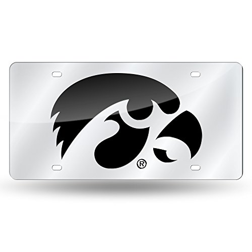 Rico Industries NCAA Iowa Hawkeyes Laser Inlaid Metal License Plate Tag, Silver