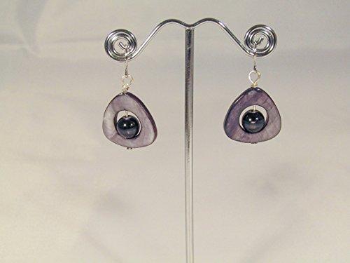 - Sterling Silver Black lip pearl earrings