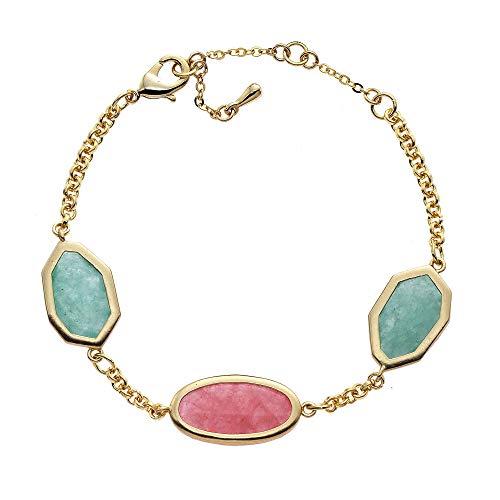 Collection Bijoux 18K Gold Plated Rose Aventurine & Amazonite Station Bracelet ()
