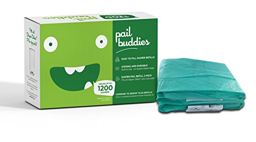 Pail Buddies Diaper Pail Refills - Each Refill Can Hold Up to 1200 Diapers - 2 Pack - Compatible with all Diaper Dekor Plus Diaper Pails