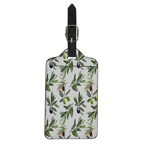 Semtomn Luggage Tag Green Leaf Olives Branches Watercolor Branch Antioxidant Berry Biological Suitcase Baggage Label Travel Tag Labels