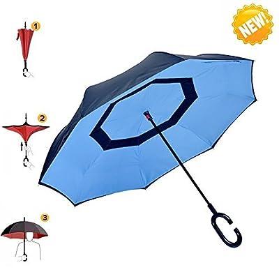 Umbrella, AIGUMI Self Standing Waterproof Reverse Folding Double Layer Inverted Travel Umbrella