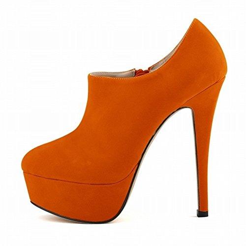 HooH Women's Flannel Zipper Round-toe Platform Stiletto Martin Pump Ankle Boot Orange fTAIKyZ