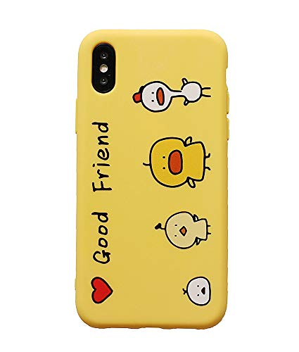 UnnFiko Friendship Super Simple Series Case for iPhone 7 Plus/iPhone 8 Plus, Creative Funny Cartoon Soft Silicone Flexible Protective Covers for Friends (Good Friend Yellow, iPhone 7 Plus / 8 Plus)