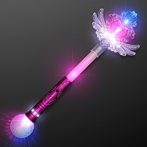 FlashingBlinkyLights Light Up LED Sparkling Fairy Winged Heart Wand (Disney Magic Wand)