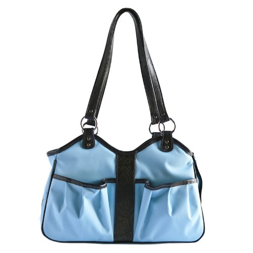 Petote Metro Dog Carrier Bags with 2 Open Pockets, Turquoise Blue, Petite