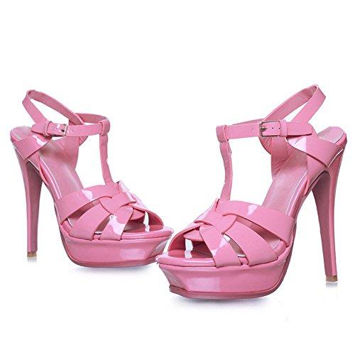 RAZAMAZA Mujer Tac¨®n De Aguja Sandalias T-strap Plataforma tacon Alto Boda Zapatos Rosa