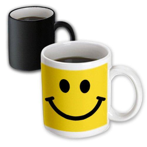 "3dRose 113090_3""Yellow Smiley Face-Happy Smiling Cartoon-60S Jolly Cheerful Bright Magic Transforming Mug, 11 oz, Black/White"