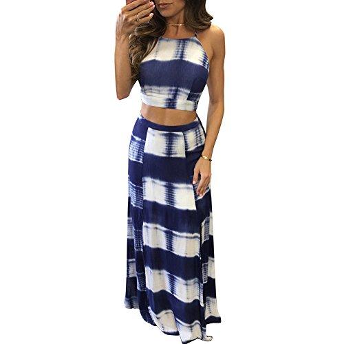 LKOUS Women's Sexy Halter Backless Split Long Beach Dress Maxi Skirt Set 2 Pieces S-XL (Sexy Long Skirts)
