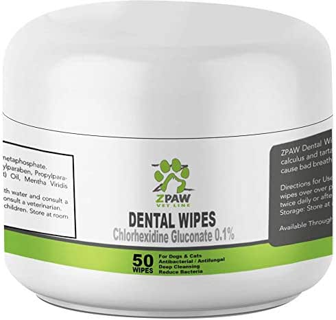 ZPAW Dental Wipes for Dogs and Cats | with Chlorhexidine and Sodium Hexametaphosphate That Helps Remove Plaque Tartar Buildup Calculus and Bad Breath, Preventing Tooth Decay and Gingivitis (50 Wipes)