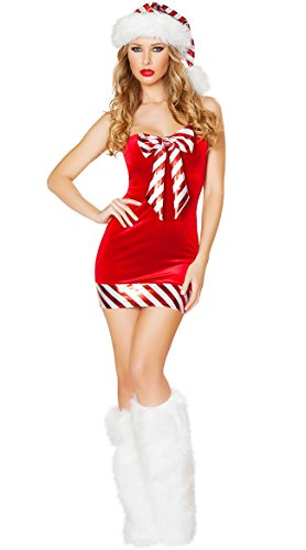 Kasiria Womens and Ladies Velvet Sexy Lingerie Red Miss Santa Claus Christmas Fancy Dress Hen Night Costume Set Babydolls Lace (Sexy Santa Claus Outfit)