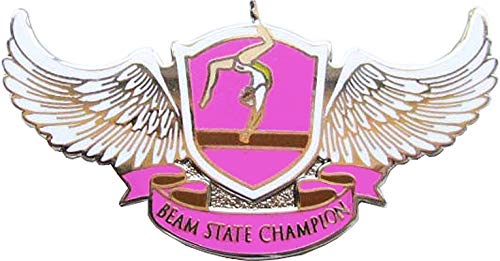 Pink and Gold Gymnastics Lapel Pins Prime Crown Awards Level 4 Glitter Gymnastics Pin