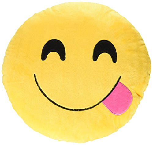 Creative Motion 14086-2 Yellow Smiley Face with Red Tongue Stick Out Emoji Cushion -