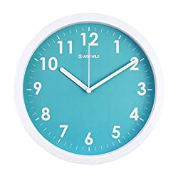 JustNile 10 Silent Sweep Movement Elegant Tiffany Blue Wall Clock