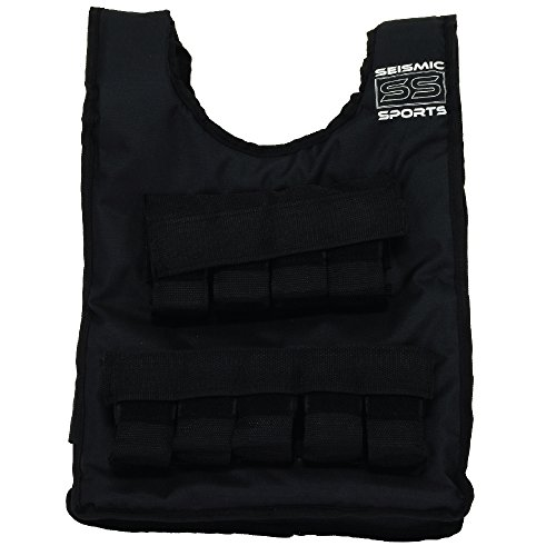 Seismic Sports SS40VBK Adjustable Weighted Vest 40 lb Black for Crossfit, HIIT, Strength, Cross Training and Cardio Exercise