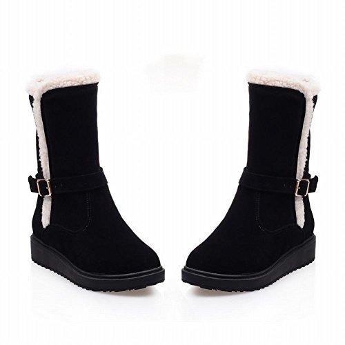 Het Warme Comfort Van De De Fauxbontcomfort Eenvoudige Zwarte Platte Sneeuwlaarzen Van De Carolbarvrouwen