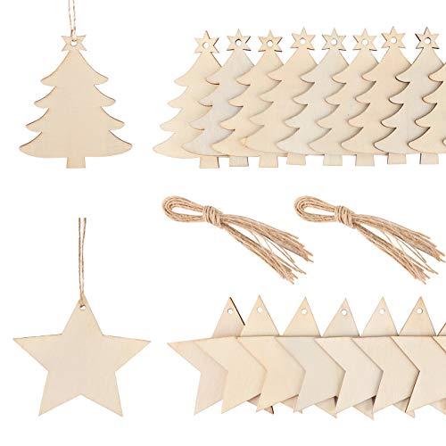 FLOFIA 40pcs Colgante Adorno Madera de Navidad con 800cm Cuerda Árbol Navidad Estrella Madera Colgante Navideño Madera Decoración Ornamento Madera de Fiesta Naviadad DIY Artesanía