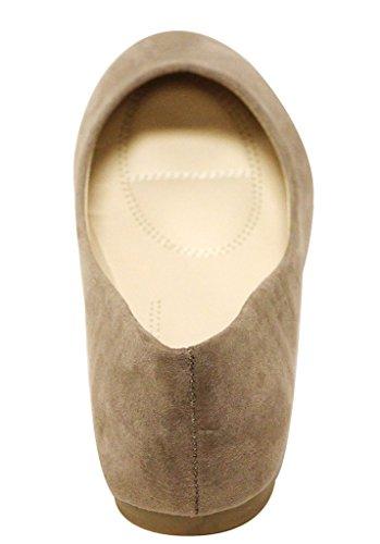Bella Marie Stacy-12 Damen Runde Zehe Slip On Ballett Flache Schuhe Taupe