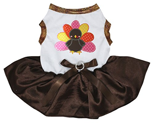 Petitebella Puppy Clothes Dog Dress Thanksgiving Turkey White Top Brown Tutu -