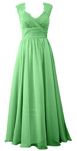 Dress Vintage Gown Long V Minze Neck MACloth Evening Bridesmaid Women Formal Lace O5IwqT