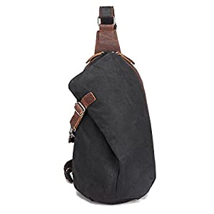 AOTIAN Waterproof Waxed Canvas Leather Hipster Men's and Women's One Shoulder Sling Small Backpacks For Hiking Biking Travel Outdoor Casual Chest Bags Back Packs Black