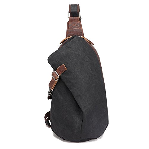 AOTIAN Waterproof Waxed Canvas Leather Hipster Men's and Women's One Shoulder Sling Small Backpacks For Hiking Biking Travel Outdoor Casual Chest Bags Back Packs - Sling Leather Backpack