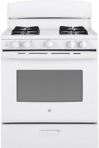 White Freestanding Gas Range (GE JGBS30DEKWW 30 Inch Freestanding Gas Range with 4 Sealed Burner Cooktop, in White)
