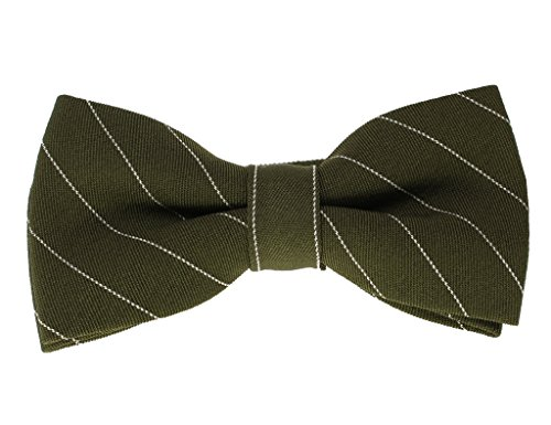 Glennbrook Mens Pre Tied Bowtie The Pleasant Pinstripe Collection - Dark Olive (Olive Pinstripe Suit)