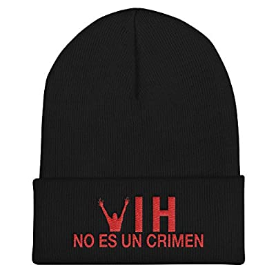 HIV is Not a Crime Hat Knit Beanie Cap - Spanish One Size Black