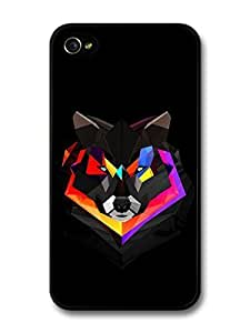 AMAF ? Accessories Abstract Colour Wolf With Black Background Illustration case for iPhone 4 4S