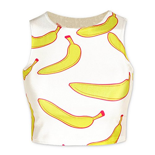 QZUnique Women's New Partysu Banana Printed Midriff-baring Short Loose Tank Top White (Sorts Banana)