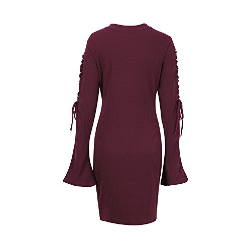 Up Knitted Lace Neck Casual Sleeve Womens Bodycon CHICFOR Flare Dress Wine Long Red Mock Sweater wgqUXnvA