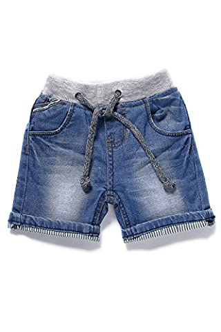 Little-Guest Baby Boys' Clothes Blue Knee-Length Jeans Shorts B201 (12-18 Months, Light Blue) - Blue Patchwork Shorts