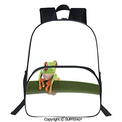 SCOXIXI Laptop Backpack Red Eyed Tree Frog Perches on a Long Slim Leaf Tropic Rainforest Animal Wild Life Photo (15.75