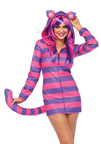 Leg Avenue Women's Cozy Cheshire Cat Wonderland Halloween Costume, Pink/Purple, Medium]()